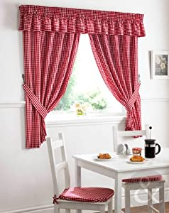 Net curtain set red white curtain pair 46x42 inches short