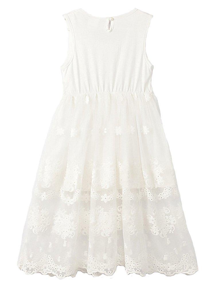 Horcute Princess Sleeveless Vintage Lace Long Flower Girl Dress 1