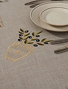 "LXLFMY, 69""X104"" Modern Style Retro Beige Floral Table Cloth from LXLFMY tablecloth"