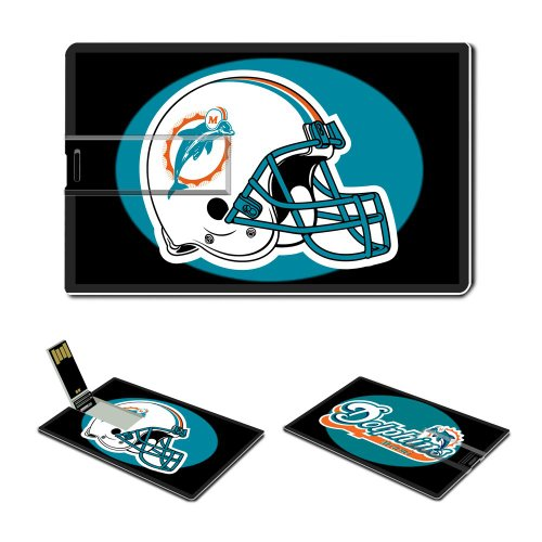 16gb Usb Flash Drive Usb 2.0 Memory Stick Sports Nfl Miami Dolphins Logo Credit Card Size Customized Support Services Ready National Football League Super Bowl Team Playoffs Mvp Champion Player Peyton Manning Brett Favre (emblem) Picture