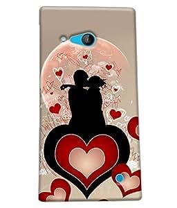 Fuson Heart Love Couple Pattern Back Case Cover for NOKIA LUMIA 730 - D3991