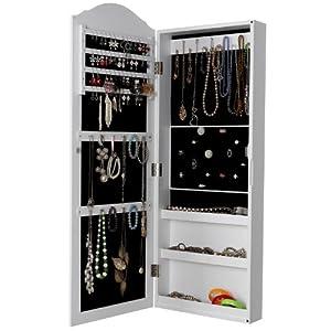 Songmics® Schmuckschrank Spiegelschrank Wandspiegel zum Hängen weiß Tür mit Magnetverschluss 96 x 35.1 x 9.2cm JBC83W