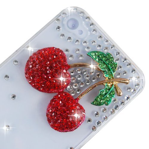 Semoss Custodia in Strass Diamante per Apple iPhone 5C con Rosso Ciliegia Cover Rigida in Trasparente