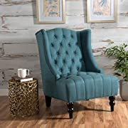 Clarice | Tall Wingback Fabric Accent Chair | Perfect For Living Room | Dark Teal