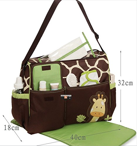 Multifunctional Large Capacity Fashion Cartoon Pattern Baby Diaper Nappy Bag Mummy Bag Giraffe Diaper Bag front-558790