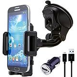 NessKa Premium Auto Handy Halterung Halter mit Ladefunktion / Ladegerät Micro USB Kabel Ladekabel + KFZ USB Adapter für Samsung Handy Galaxy S6 / S6 Edge / S4 / S4 Active / S4 Mini / S3 / S3 Mini / Note 1 2 3 4 / Galaxy Alpha / ATIV S / S Duos 1 + 2 / Ace 2 + 3 / K Zoom / Trend Plus / Express II / Core / Fame Lite | 360° Verstellbar | Schwanenhals | Während der Fahrt Videos möglich