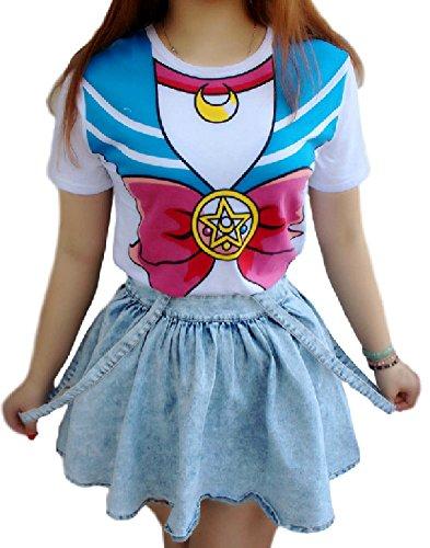 SPJ: Japanese Anime Sailor Moon Style T-shirt Harajuku Kawaii Cosplay Costume (XL)