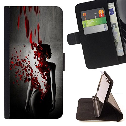 Pelle Portafoglio Custodia protettiva Cassa Leather Wallet Case for LG CLASS / LG H740 /LG ZERO H650 / CECELL Phone case / / Blood Rose Petal Dress Black Woman /