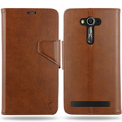 Cool Mango Business Flip Cover for Asus Zenfone 2 Laser - 100% Premium Faux Leather Flip Case for Asus Zenfone 2 Laser ZE550KL 5.5 Inch with 360 Degree Stitching, Magnetic Lock, Card & Currency Wallet - Limited Time Offer Pricing (Cocoa Brown)