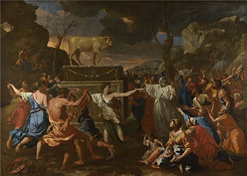 'Nicolas Poussin The Adoration Of The Golden Calf ' Oil Painting, 8 X 11 Inch / 20 X 28 Cm ,printed On Perfect Effect Canvas ,this Amazing Art Decorative Prints On Canvas Is Perfectly Suitalbe For Kitchen Gallery Art And Home Gallery Art And Gifts