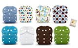 8 Duo All in One Snap Diaper Covers-Scottish Storm, Blackbird, Hoot, and Solid Colors-Sz 2