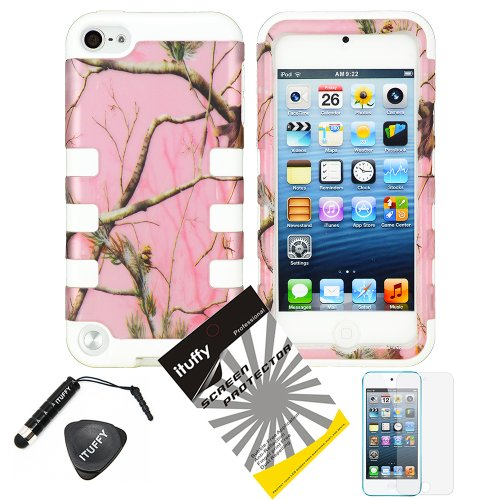 4 Items Combo: Ituffy(Tm) Lcd Screen Protector Film + Mini Stylus Pen + Case Opener + Silver Pink Pine Tree Leaves Camouflage Outdoor Wildlife Design Rubberized Hard Plastic + White Soft Rubber Tpu Skin Dual Layer Tough Hybrid Case For Apple Ipod Touch 5