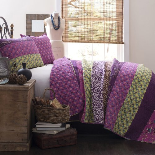 Lush Decor Royal Empire 3-Piece Quilt Set, Full/Queen, Plum (Queen Quilt Set Purple compare prices)