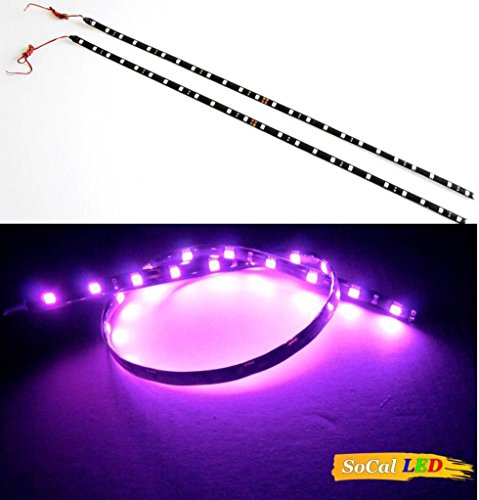 "Socal-Led 2 Pcs 60Cm/24"" Purple Flexible Led Car Strips, High Power Bright 5050 12 Smd Light, Waterproof, Cuttable"