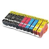 10 Druckerpatronen mit CHIP kompatibel für Canon PGI-520 CLI-521