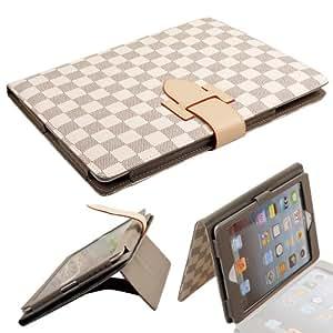 TET-AM PU Leder Tasche Hülle für iPad Air iPad 5 Case Cover Weiss kariert Schutzhülle mit Aufsteller, elastischer Handschlaufe, Stylus-Halterung und magnetische Auto Sleep/Wake Funktion