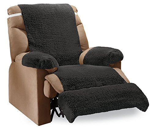 Collections Etc Recliner Fleece Furniture Covers - 4 pc, Black