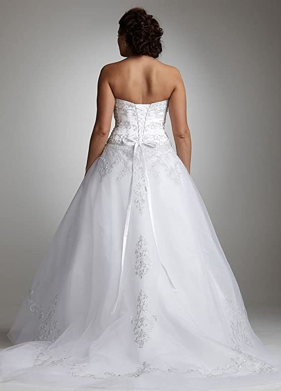 SAMPLE Strapless Tulle Ball Gown Wedding Dress with Satin Bodice Style..