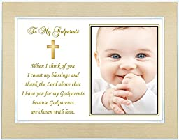 Gift for Godparents from Godchild on Baptism or Christening Day - Godparent Poem - Gold and Silver Frame - Room for a Photo
