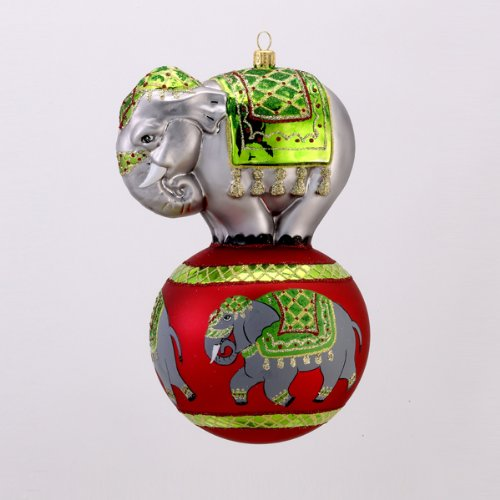 CIRCUS ELEPHANT TRUNK SHOW Glass Ornament Made in Poland David Strand NEW IN BOX