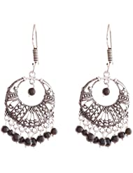 Ganapathy Gems Oxodised Silver Plated Earing With Black Drops (7272)