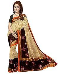 ISHIN Bhagalpuri Silk Beige & Black Printed Womens Saree.