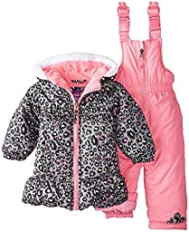 Pink Platinum Baby Girls\' All Over Cheetah Snowsuit, Black, 12 Months