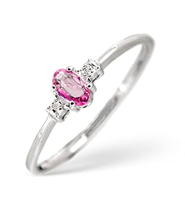 TheDiamondStore | Shoulder Engagement Ring - Oval Pink Sapphire & Diamond - 9K White Gold