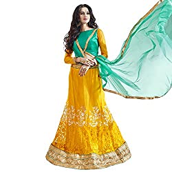 Bhelpuri Women Yellow Net Lehenga Choli