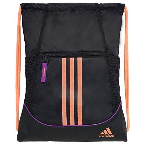 adidas Alliance II Sackpack, Black/Flash Pink/Flash Orange, 18 x 13.75-Inch