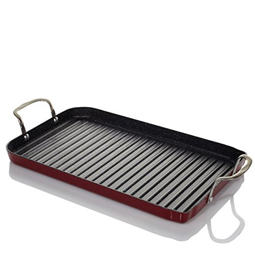 Curtis Stone DuraPan Nonstick Double-Burner Grill Pan with 10 Recipe Cards - Red