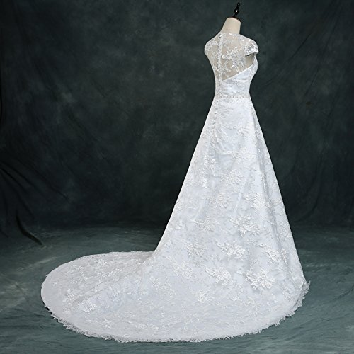 Vintage Lace Country Wedding Dresses Cap Sleeve Sheer Boho A line Bridal Gowns 4