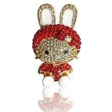buy Korean Rabbit Style Flash Diamond Crystal Key Chain Ring Keyring Keychain Fob Holder Bag Handbag Ornament Decoration Hook, Red