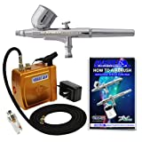 Master Airbrush® Brand Model G22 Airbrushing System with Model C16-G Gold Portable Mini Airbrush Air Compressor-The Complete Set Now Includes a (FREE) How to Airbrush Training Book to Get You Started