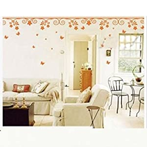 Wall Decor - All-matching Removable Wallpaper Wall Stickers with Flower Pattern Large Size Orange by Mark8shop