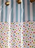 Homescapes Vorhang Kinderzimmer Ösenvorhang Kindervorhang Stars Multi 2er Set bunt 117 x 137 cm  100% reine Baumwolle