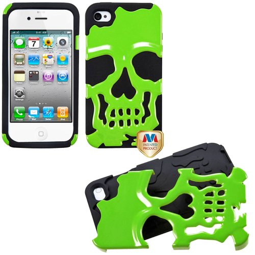 Mylife (Tm) Lime Green + Black Scary Skull Series (2 Piece Flex Grip) Hybrid Toughsuit Case For Iphone 4/4S (4G) 4Th Generation Touch Phone (Thick Silicone Outer Shockproof Rubber + Soft Internal Silicone Gel + Mylife (Tm) Lifetime Warranty + Sealed In My