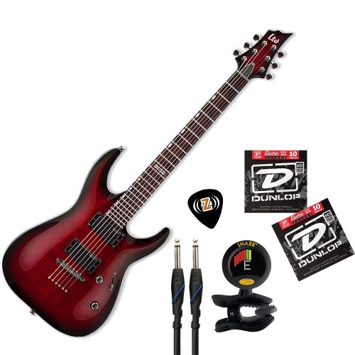 Esp Ltd H-330-Fm-Nt Electric Guitar (See Through Black Cherry Sunburst) Bundle With Limited Edition Zorro Dunlop Sampler Pick Pack, Monster Standard 100 12' Instrument Cable, Dunlop Electric Nickel Wound Strings (Den-1046) And Snark Sn-8 All Instrument Tu