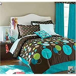 Turquoise amp green polka dot teen full comforter set 8pc bed in a bag