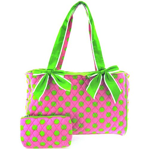 Cute! Quilted Polka Dot Print Baby Girl Diaper Bag Tote Purse (Pink/Green) - 1