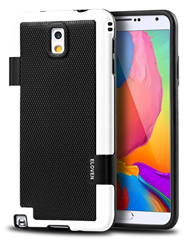 Note 3 Case, ELOVEN Ultra Slim 3 Color Hybrid Dual Layer Shockproof Case [Extra Front Raised Lip] Soft TPU & Hard PC Bumper Protective Case Cover for Galaxy Note 3 - Black (Bumper Galaxy Note 3 compare prices)