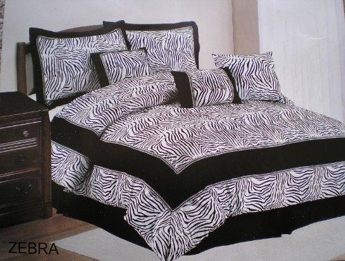 Micro Suede Black and White Zebra Design Queen Size Comforter Set