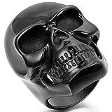 JewelryWe Bague Cool Grand Crâne Gothique Tête de Mort en Acier Inoxydable Anneau pour Homme Noir #10 Taille de Bague 62