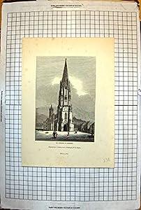 Drucken Sie Münster Der Freiburg-Glockenturm-Dekorativen Offenen Straße 1843 238J716