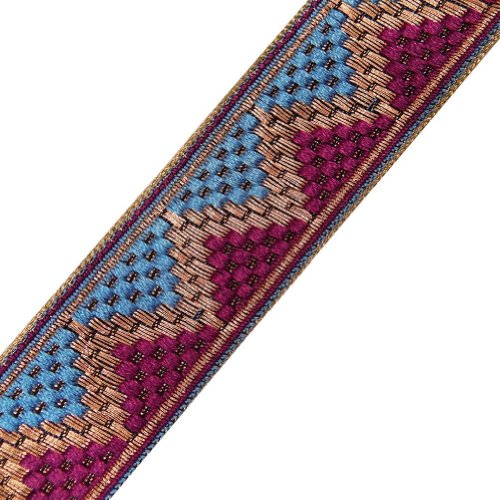 Pink Blue Jacquard Ribbon Trim Decorative Border Lace Sewing India 4.5Yd