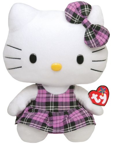 Ty Beanie Buddy Hello Kitty - Purple Plaid (Medium)