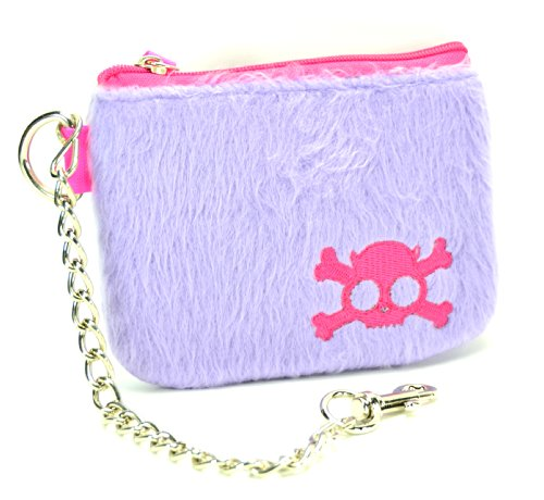 "Purple Fur Skull Coin Purse with 8"" Key Chain"