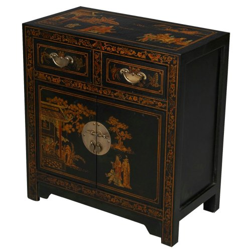 Cheap EXP Handmade Furniture – 28″ Antique Style Black Leather End Table / Accent Table – Traditional (B001KWEO0E)