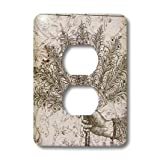 lsp_110260_6 PS Vintage - Hand Holding Fan Vintage Steampunk Art - Light Switch Covers - 2 plug outlet cover
