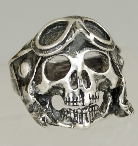 Sterling Silver Skull with Goggles Ring for Bikers! Made in America
